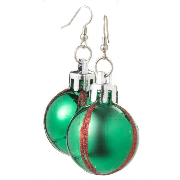 Green Christmas Ball Earrings