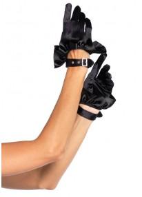 Satin Ruffle Glove with Rhinestone Buckle