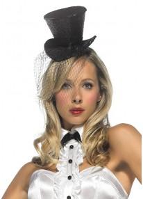 Mini Glitter Top Hat with Veil