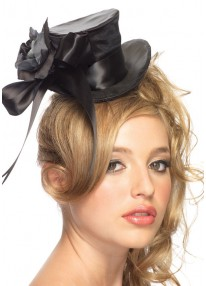 Satin Top Hat with Bow & Flower