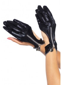 Wet Look Zipper Cut Out Motorcycle Gloves