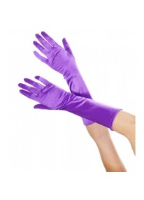 Elbow Length Satin Gloves - Purple