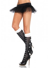Faux Lace Up Athletic Star Knee Highs