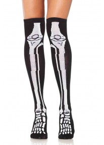 Acrylic Skeleton Over The Knee Socks