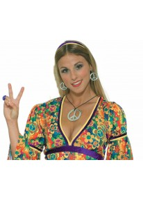 Peace Sign Earrings With Necklace Set