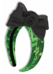Neon Lace Headbands With Bow Green