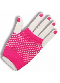 Short Fishnet Fingerless Gloves Pink