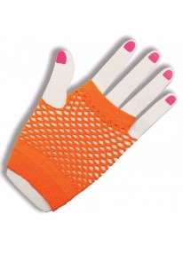 Short Fishnet Fingerless Gloves Orange