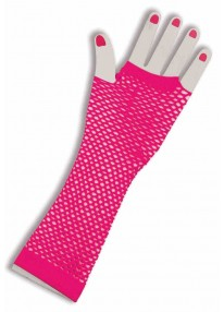Long Fishnet Fingerless Gloves Pink