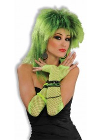 Long Fishnet Fingerless Gloves Green