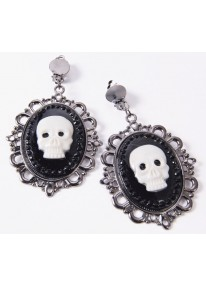 Pirate Skull Cameo Earrings