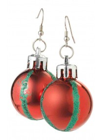 Red Christmas Ball Earrings