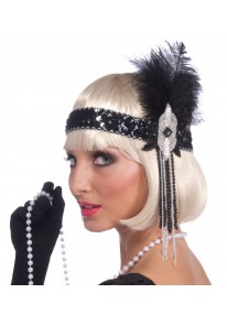 Black Flapper Headband With Black Feather