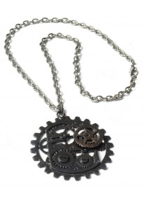 Steampunk Dark Metal Gear Necklace