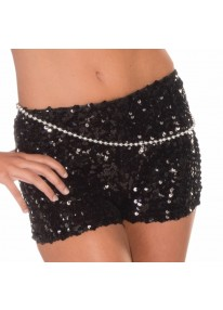Sequin Mini Shorts Black