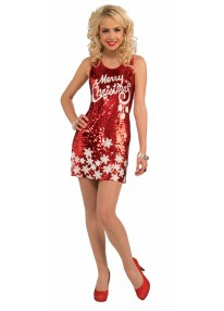 Racy Red Merry Christmas Dress Costume