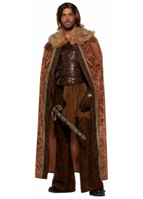 Brown Faux Fur Trimmed Medieval Cape
