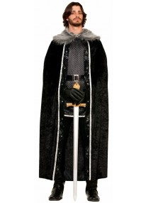 Black Faux Fur Trimmed Medival Cape