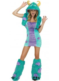 Blue & Purple Furry Monster Costume-XL