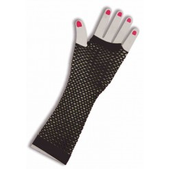 Long Fishnet Fingerless Gloves Black