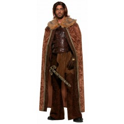 Brown Faux Fur Trimmed Medieval Cape
